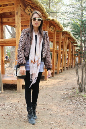 black Therapy boots - animal print H&M jacket - black Marks & Spencer shirt