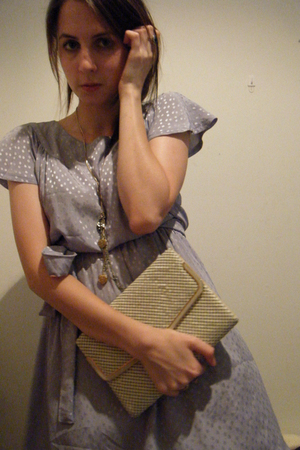 purple vintage dress - white Vintage bag accessories - gold necklace accessories