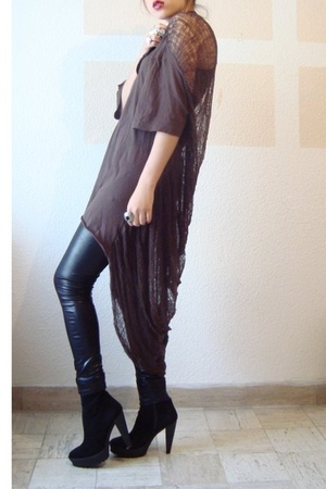 brown ROUGE et NOIR t-shirt - dress