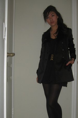 black Target tights - black BCX coat - black American Rag dress - black Forever