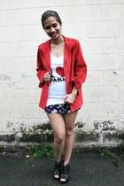black Parisian boots - ruby red vintage coat - white i love paris PLF top - navy