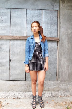 black from bangkok dress - blue Gap jacket - gray Manels wedges