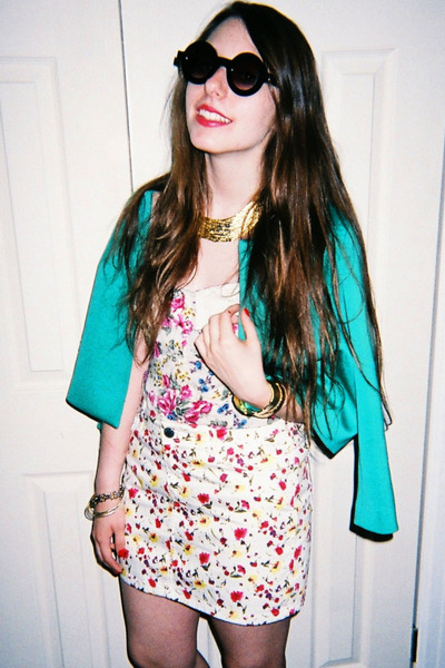 gold Karen London necklace - turquoise blue asos blazer