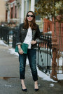 Forest-green-clutch-brahmin-bag-navy-boyfriend-silver-jeans-co-jeans