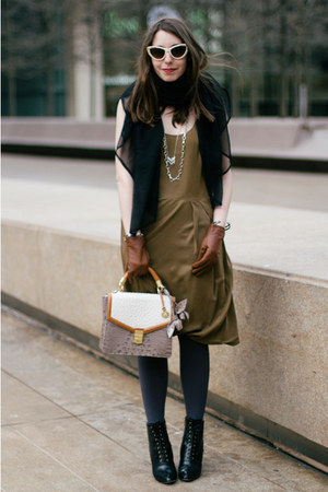 olive green Club Monaco dress - black Coye Nokes boots - off white brahmin bag