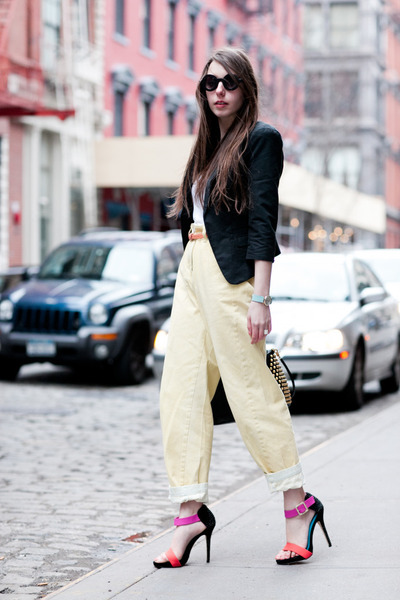 light yellow asos jeans - black flat round asos sunglasses