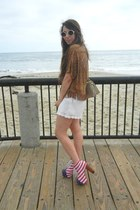 Jeffrey Campbell boots - white knitt white H&M shorts