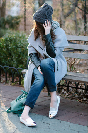 heather gray Zara coat - blue Silver Jeans Co jeans - charcoal gray H&M hat