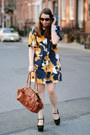 Navy-printed-ivana-helsinki-dress-brown-leather-george-gina-lucy-bag
