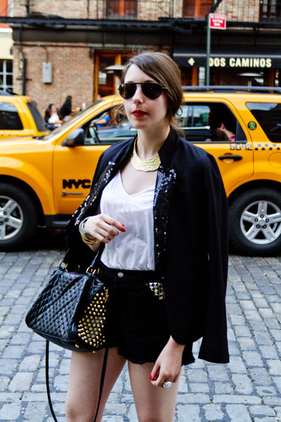 black sequined Talulah Sunrise blazer - black studded Rebecca Minkoff bag