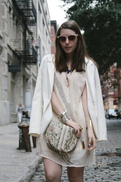 cream H&M dress - white H&M blazer - heather gray Remi&Emmy bag