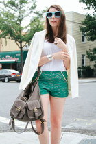 turquoise blue One Rad Girl shorts - off white H&M blazer