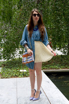 blue denim Lane Bryant shirt - periwinkle Rebecca Minkoff bag