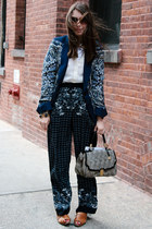 navy printed Zara blazer - silver brahmin bag - bronze 8020 loafers