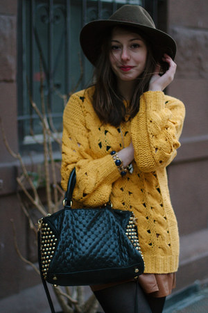 mustard knit Beautiful Monster sweater - black studded Rebecca Minkoff bag