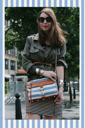 sky blue striped Rebecca Minkoff bag - navy striped H&amp;M dress