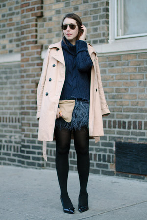 navy feather Zara skirt - tan trench Gap coat - navy knit Juicy Couture sweater