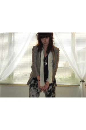 thrifted jacket - thrfted scarf - truelymadly deeply t-shirt - Diesel necklace -