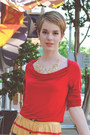 Mustard-urban-outfitters-skirt-ruby-red-cowl-neck-banana-republic-shirt