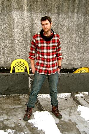 thrifted boots - Levis 511-Skinny jeans - Eddie Bauer shirt - handmade bracelet