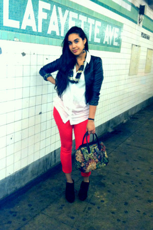 black H&M jacket - white H&M shirt - thrifted vintage bag - red H&M pants