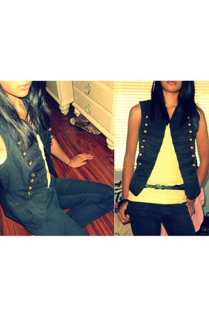 black Forever 21 vest - yellow top - black Forever 21 belt - black Forever 21 je