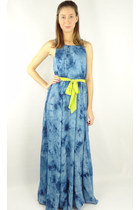 Tie Dye Open Back Belted Maxi Dress - Blue