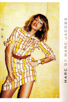 gold Marc by Marc Jacobs dress - brown belt - white bracelet - beige bracelet