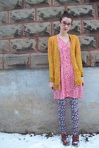 gold Rodarte for Target cardigan - pink gift dress - pink norwegian wood legging