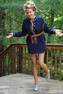 Blue-vintage-60s-dress-brown-h-m-belt-gray-steve-madden-shoes