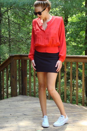 red blouse - black American Apparel skirt - white Converse shoes - black Ebay su