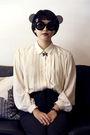 pleated shirt - flip-up sunglasses - H&M sunglasses