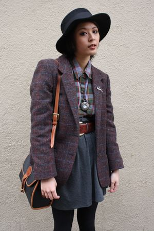 Deena &amp; Ozzy hat - Urban Outfitters blazer - Goodwill shirt - Uniqlo skirt - bel