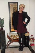 black blazer - red Zara dress - black stockings - gold hat