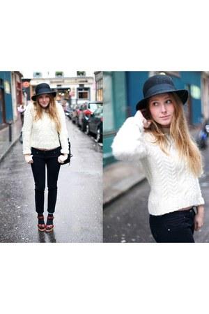 H&M hat - Claudie Pierlot jumper - Isabel Marant heels