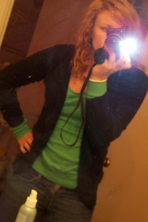 green Victorias Secret t-shirt - black American Eagle cardigan - blue hollister