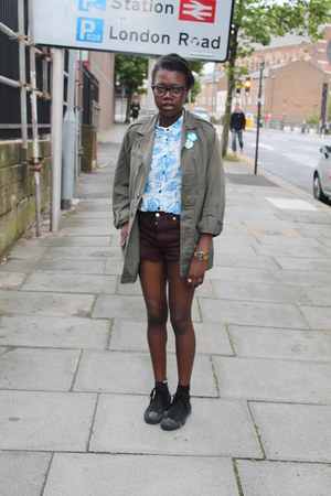 Topshop blouse - vintage jacket - vintage shorts