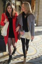 red United Colours of Benneton coat - black Zara blazer - black Zara dress - bla