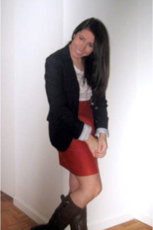 Gap blazer - H&amp;M shirt - banana republic skirt - Lord &amp; Taylor boots