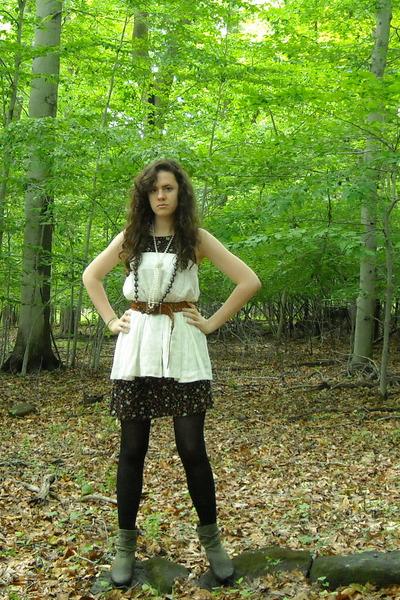 green joyce leslie boots - black vintage dress - white worn as a top Gap skirt
