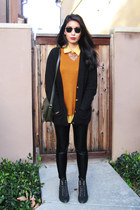 black black knit H&M cardigan - burnt orange Forever 21 sweater