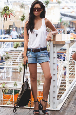 Paige Denim shorts - Sicky sunglasses - Michael Stars top