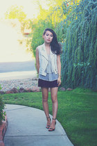 white studded Forever 21 vest - periwinkle tiered Crossroads Trading top