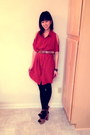 Burnt-orange-forever-21-dress-black-opaque-urban-outfitters-tights