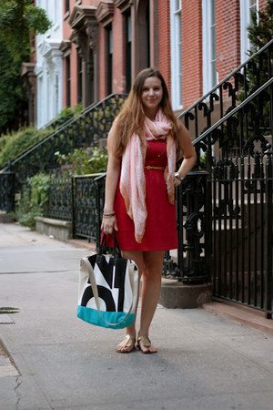 ruby red H Boutique dress - peach H&M scarf - ivory brahmin bag