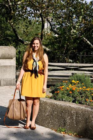 gold Sugarlips dress - black H&M scarf - light brown big buddha bag