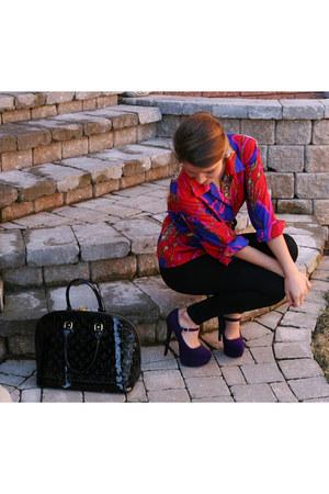 deep purple suede Steve Madden pumps - black alma Louis Vuitton bag
