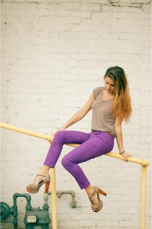 amethyst purple Flying Monkey pants - beige H&M t-shirt
