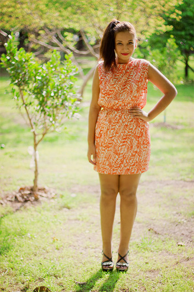 orange random brand dress - black fahrenheit wedges