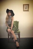 olive green skater vintage from Ebay skirt - black vintage from Ebay hat